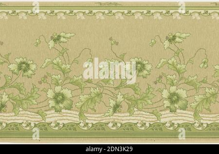Frieze, Liberty Wall Paper Company, Schuylerville, New York, Machine-printed paper, Horizontal ribbon-like stripe with lines crisscrossing horizontallyally inside it, and with green flower vines twisting above them. Background has an overall wavy line and dot pattern. Top and bottom have bands of waving floral vines. Ground is beige. Printed in beige, green, and cream., Printed in selvedge: 'Standard Papers', Schuylerville, New York, USA, 1905–1915, Wallcoverings, Frieze - Stock Photo