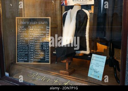 Prices of academic gowns at Ryder & Amies shop on King's Parade in Cambridge, Cambridgeshire England United Kingdom UK