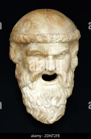 mask in the shape of a silenskopf, marble, chiseled, drilled, marble, Total: Height: 26.8 cm; Width: 16.7 cm; Depth: 8.3 cm, Garden and park, Living, Theater/Opera, Three-dimensional sculptures, Sculptures, Satyrs, Fauns, Silene, Head, Beard, History of Bacchus (Dionysus), Middle Imperial Era, Roman Antiquity, The hollow mask shows an old Silen with pointed ears, one of those journeymen who accompany the wine god Bacchus as a hybrid between man and horse. The head, which is only covered with single strands of hair, is crowned with a bandage, the nose short and bulging. - Stock Photo