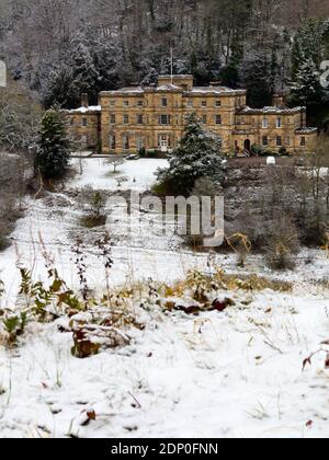 Winter view with snow of Willersley Castle in Cromford Derbyshire Peak District England UK built for Sir Richard Arkwright in the late 18th century. Stock Photo