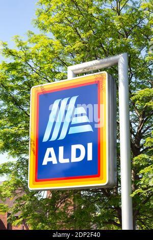 Aldi Supermarket sign, New Road, Stourbridge, West Midlands, England, United Kingdom