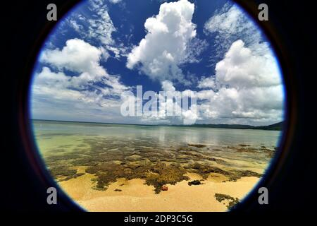 Yonehara Beach, Low Tide,  Empty, Fishe Eye View, Ishigaki, Yahema Islands, Ryukyu Islands, Okinawa, Japan