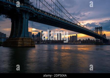 View on Lower Manhattan, Brooklyn Bridge and Manhattan Bridge from the DUMBO Brooklyn, NY
