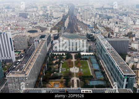 PARIS, FRANCE - NOVEMBER 29, 2013: Aerial View of Paris from Maine-Montparnasse Tower - Stock Photo