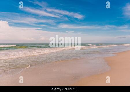 Waves gently caress the beach at St Petersburg Beach on Florida's Gulf Coast