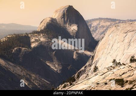 View behind of Half Dome from Olmsted Point on Tioga Pass, Yosemite National Park - Stock Photo