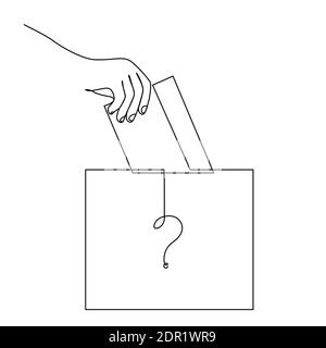 Vote Continuous Line Drawing. The Hand Puts the Voting Form in the Ballot Box. The winner of the election is unknown - a question symbol on the ballot box. Vector illustration - Stock Photo