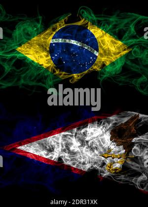 Brazil, Brazilian vs United States of America, America, US, USA, American, American Samoa smoky mystic flags placed side by side. Thick colored silky - Stock Photo