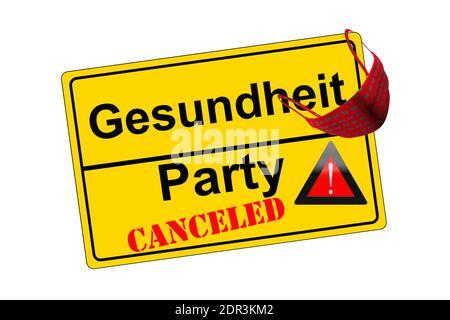 Ortschild isoliert auf weiß Party canceled kontra Gesundheit - Stock Photo