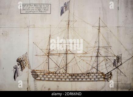 Madrid, Spain - Dec 12th 2019: Real Felipe Spanish Navy warship profile, 1716. Madrid Naval Museum