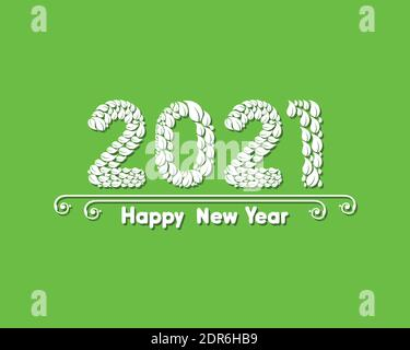 Vector illustration of Happy new 2021 year greeting - Stock Photo