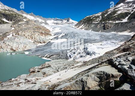 Landscape of Rhone Glacier, the source of Rhone River, Valais, Switzerland - Stock Photo