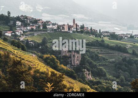 Panoramic view of Tirol, South Tyrol - Stock Photo