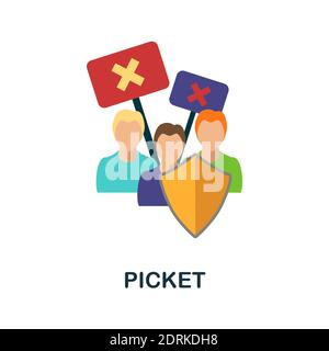 Picket flat icon. Color simple element from activism collection. Creative Picket icon for web design, templates, infographics and more - Stock Photo