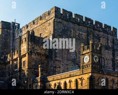 The medieval Keep and clock tower at Lancaster Castle in the City of Lancashire England UK