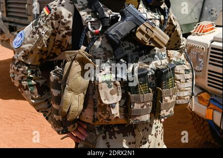 MALI, Gao, Minusma UN peace keeping mission, Camp Castor, german army Bundeswehr, Heckler & Koch pistol P30 /  MALI, Gao, Minusma UN Mission, Camp Castor der Bundeswehr, Heckler und Koch HK Pistole P 30 - Stock Photo