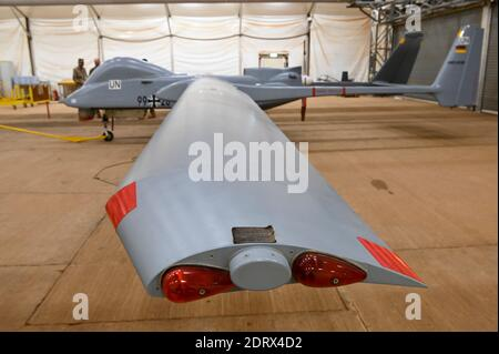 MALI, Gao, Minusma UN peace keeping mission, Camp Castor, german army Bundeswehr, hangar with reconnaissance drone Heron, a israeli system, UAV unmanned aerial vehicle - Stock Photo