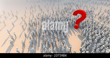 paradigm shift  ideas concept 3d redering of crowd low polygon people stand and focus on red question mark symbol word on white floor with light flare over image - Stock Photo