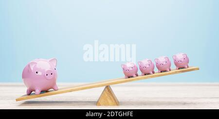 Pink piggy banks balancing on seesaw 3d illustration