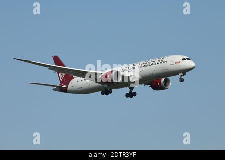 Virgin Atlantic airlines Boeing 787 Dreamliner passenger aircraft, serial no. G-VAHH, landing at Heathrow airport, London, UK.