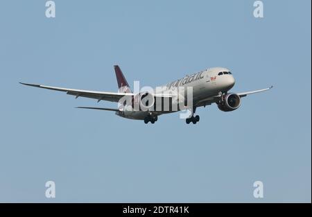 Virgin Atlantic airlines Boeing 787 Dreamliner passenger aircraft, serial no. G-VOWS, landing at Heathrow airport, London, UK.