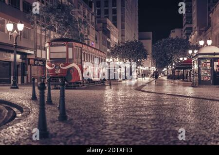Curitiba, Parana, Brazil - April 29, 2018: Reading Street Car (Bondinho da Leitura) is a tourist spot on the Rua das Flores boardwalk, located in the - Stock Photo