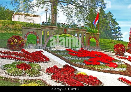 KYIV, UKRAINE - MAY 16, 2015: Flower exhibition at Spivoche Pole  in Kyiv, Ukraine. Flower exhibition is devoted to the celebration of Europe Day