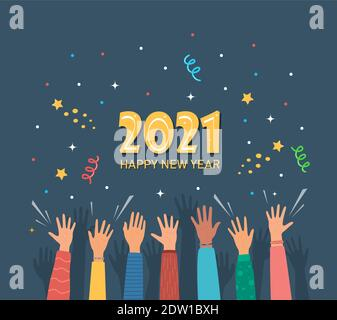 Raised hands of happy people celebrating New Year 2021. Crowd of people at party. People celebrate. Firecrackers, confetti, fireworks, carnival. New Y - Stock Photo