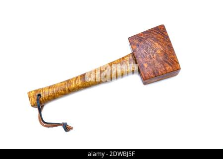 Mallet Hammer Made Of Burl Wood Tools For Used By Carpenter In Workshop On Isolated White Background