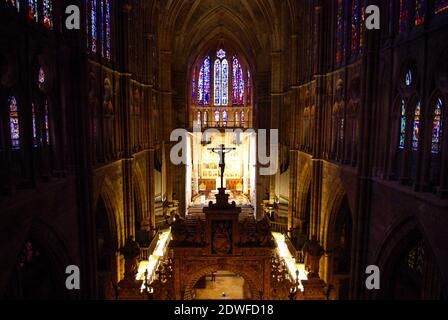 Way of St. James. Interior. High altar and stained glass windows in the cathedral of Leon, Spain