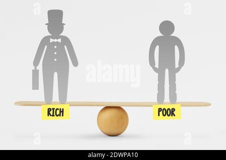 Figurines With Rich And Poor Text On Seesaw Against White Background