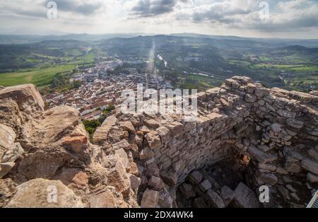 Jimena de la Frontera town, Cadiz, Spain. View from castle tower - Stock Photo