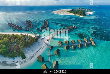 Maldives, Kaafu Atoll, Aerial view of tropical tourist resort on Huraa island