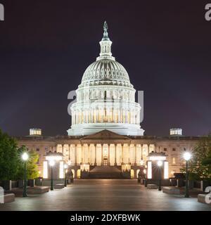 USA, Washington DC, Facade of United States Capitol at night
