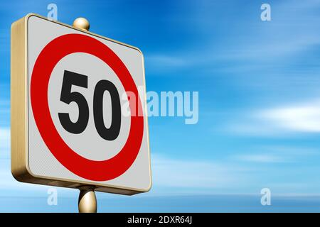 Closeup of a modern Road Sign Speed Limit 50 Kmh (kilometers per hour), on blue sky with clouds and copy space. - Stock Photo