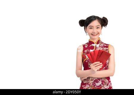 Portrait Of Beautiful Woman Wearing Chinese Dress Holding Envelopes Against White Background