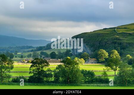 Scenic Wharfe Valley (flat sunlit fields, stone walls, Kilnsey Crag - high limestone cliff, rolling hills) - Wharfedale, Yorkshire Dales, England, UK.