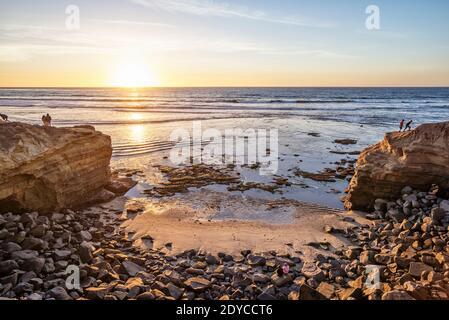Winter afternoon coastal scene at Sunset Cliffs Natural Park. San Diego, California, USA.