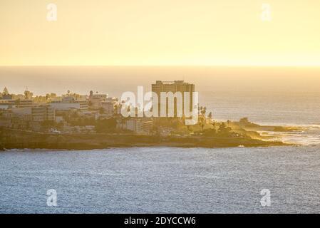 Coastal scene on a winter afternoon. La Jolla, California, USA. View of the peninsula of the city of La Jolla.