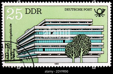 MOSCOW, RUSSIA - JUNE 19, 2019: Postage stamp printed in Germany, Democratic Republic, shows Technical Communications Buildings, Berlin, Built by Deut