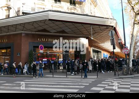 Paris, France. December 20. 2020. Exterior façade of the famous fashion and luxury store, sign Galeries Lafayette. Located on Haussmann Boulevard. Stock Photo