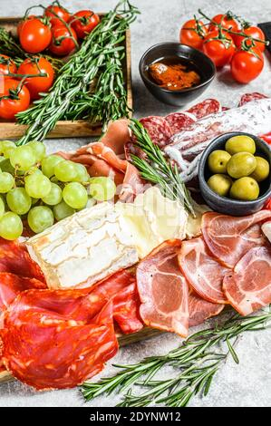 Antipasto set platter. Cold smoked meat plate with sausage, sliced ham, prosciutto, bacon, olives. Appetizer variety. Gray background. Top view