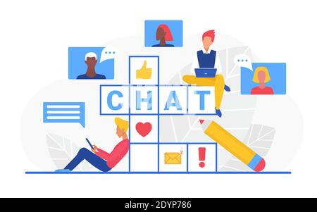 Chat crossword vector illustration. Cartoon internet user characters sitting on crossword puzzle with chat word, chatting, communicating in message bubbles conversation, social media isolated on white - Stock Photo