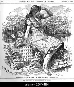 A cartoon published in the satirical magazine Punch in 1882, ridiculing the idea that Manchester could become a major seaport - Stock Photo