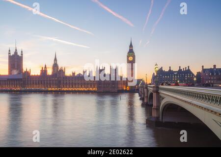 Sunset at Elizabeth Tower formerly Big Ben of Westminster Abbey from the Thames riverside. - Stock Photo