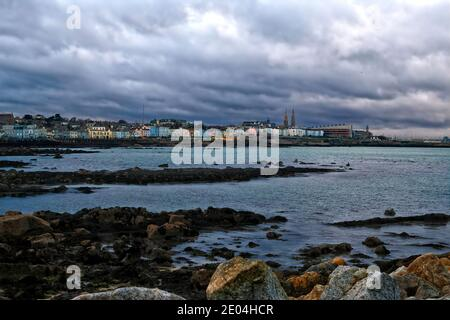 A view of Dun Laoghaire seafront in County Dublin, Ireland - Stock Photo