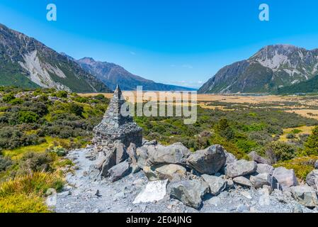 Monument to victims of Aoraki / Mt Cook national park in New zealand