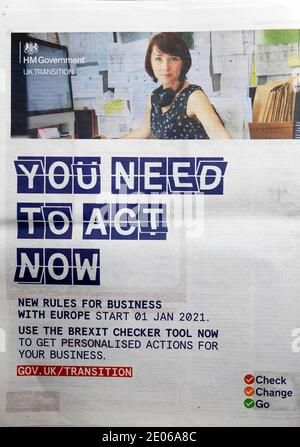 'YOU NEED TO ACT NOW' UK government newspaper advert 2020 'New Rules for Business with Europe Start 01 Jan 2021' Brexit Checker tool Transition London Stock Photo