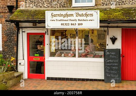 Farningham Butchers, High Street, Farningham, Kent - Stock Photo