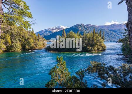 Stunning view of Menendez's lake during spring season in Los Alerces National Park, Patagonia, Argentina - Stock Photo